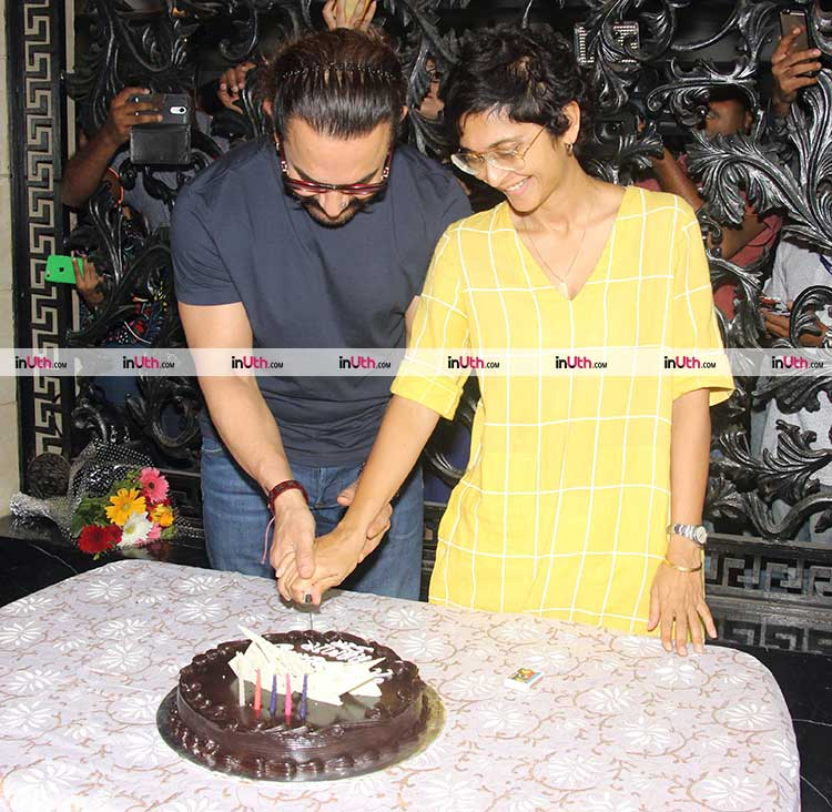 Aamir Khan and Kiran Rao cutting the actor's birthday cake
