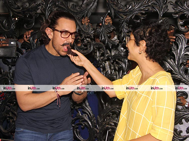 Aamir Khan and Kiran Rao snapped at the Mumbai house on the actor's 53rd birthday