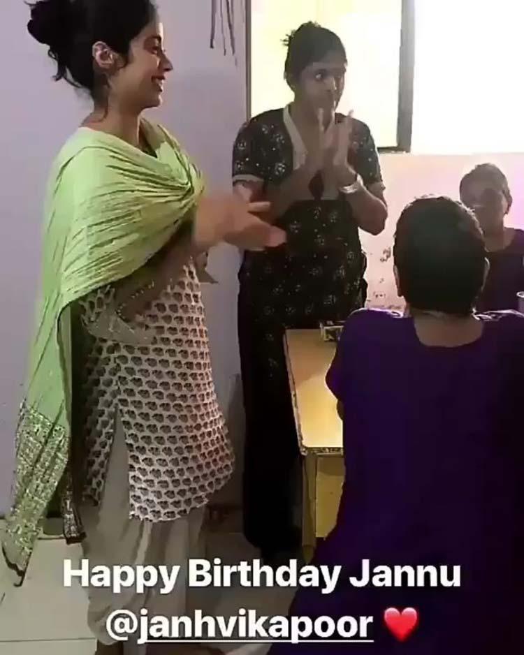 Jahnvi Kapoor celebrating her birthday in an NGO