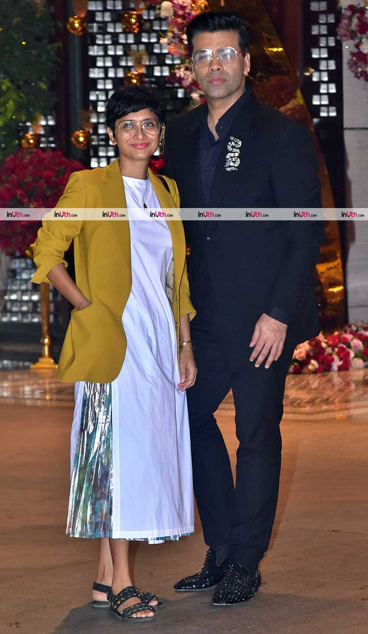 Karan Johar and Kiran Rao at Akash Ambani, Shloka Mehta engagement party