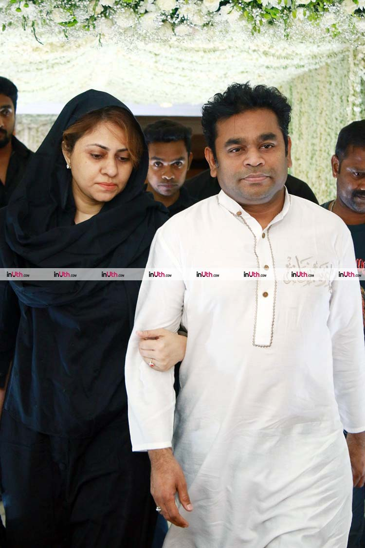 A.R. Rahman with his wife at Sridevi's Chennai prayer meet