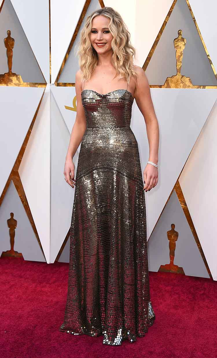 Jennifer Lawrence in a happy mood at the Oscars 2018