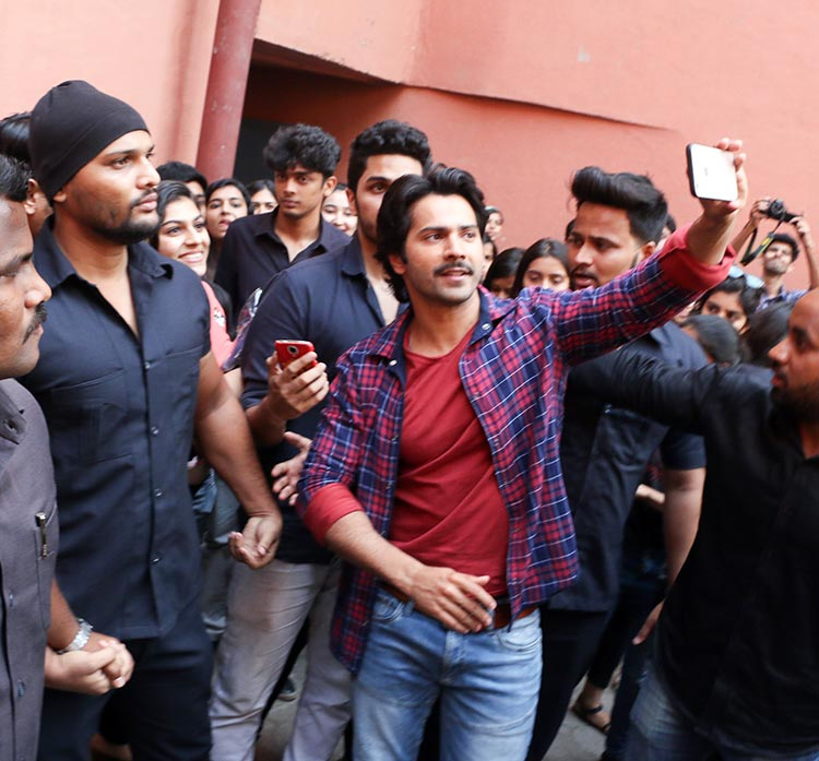Varun Dhawan at a Mumbai college for October promotions