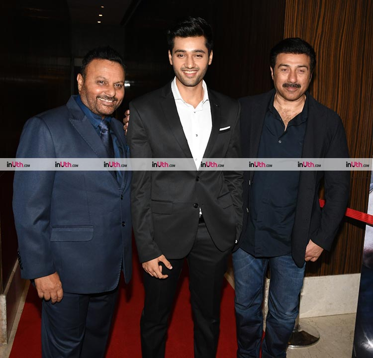 Utkarsh Sharma with Anil Sharma and Sunny Deol