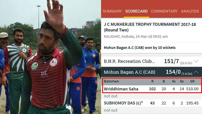 Ahead Of IPL 11, Wriddhiman Saha Scores Fastest T20 Ton, Hits 6 Sixes In AnOver