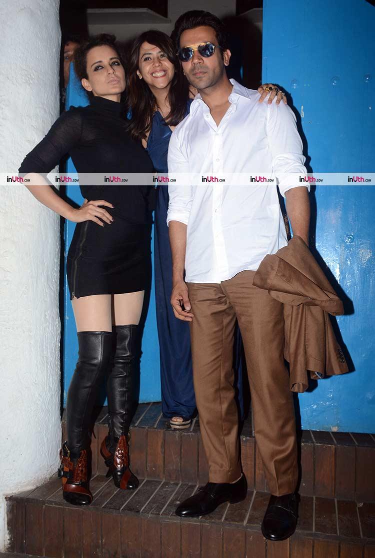 Ekta Kapoor with Rajkummar Rao and Kangana Ranaut
