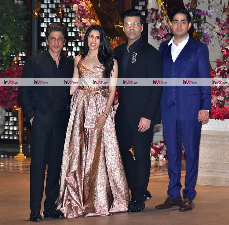 Karan Johar, Shah Rukh Khan with Akash Ambani, Shloka Mehta