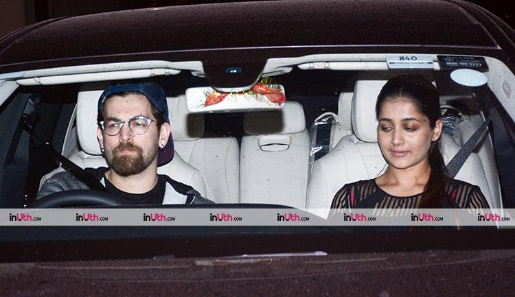 Neil Nitin Mukesh with wife at Hichki screening
