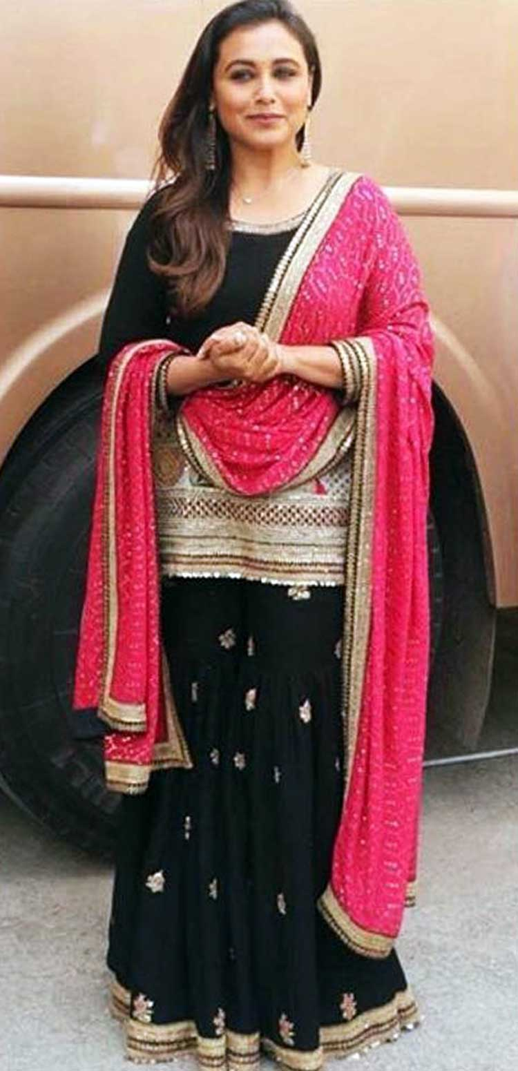 Rani Mukerji in Sabyasachi for Hichki promotions