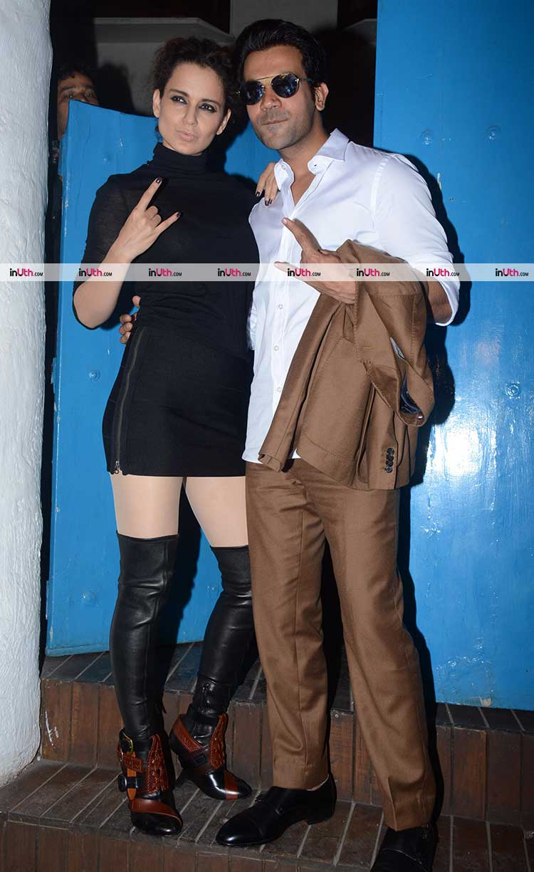 Rajkummar Rao and Kangana Ranaut at Mental Hai Kya team party
