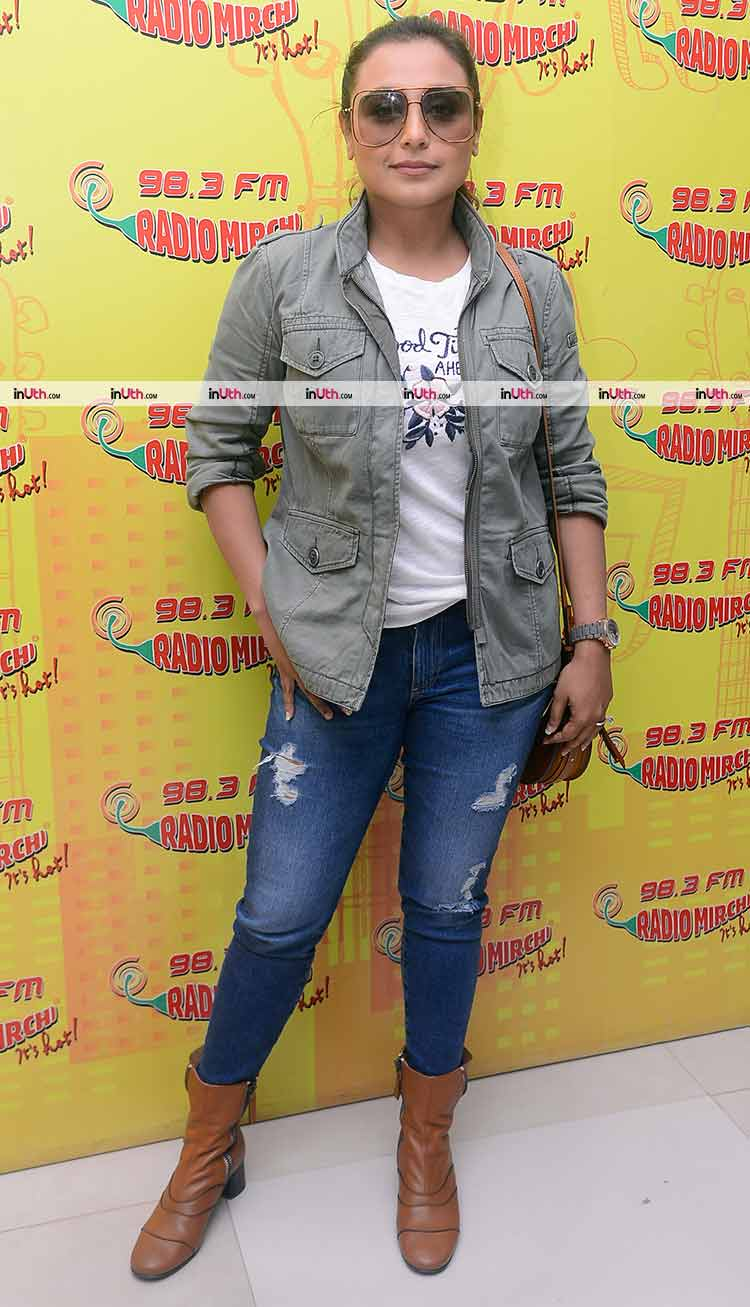 Rani Mukerji promoting Hichki at a radio station