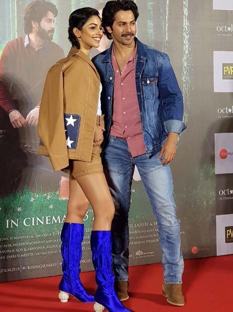 Varun Dhawan and Banita Sandhu at October trailer launch