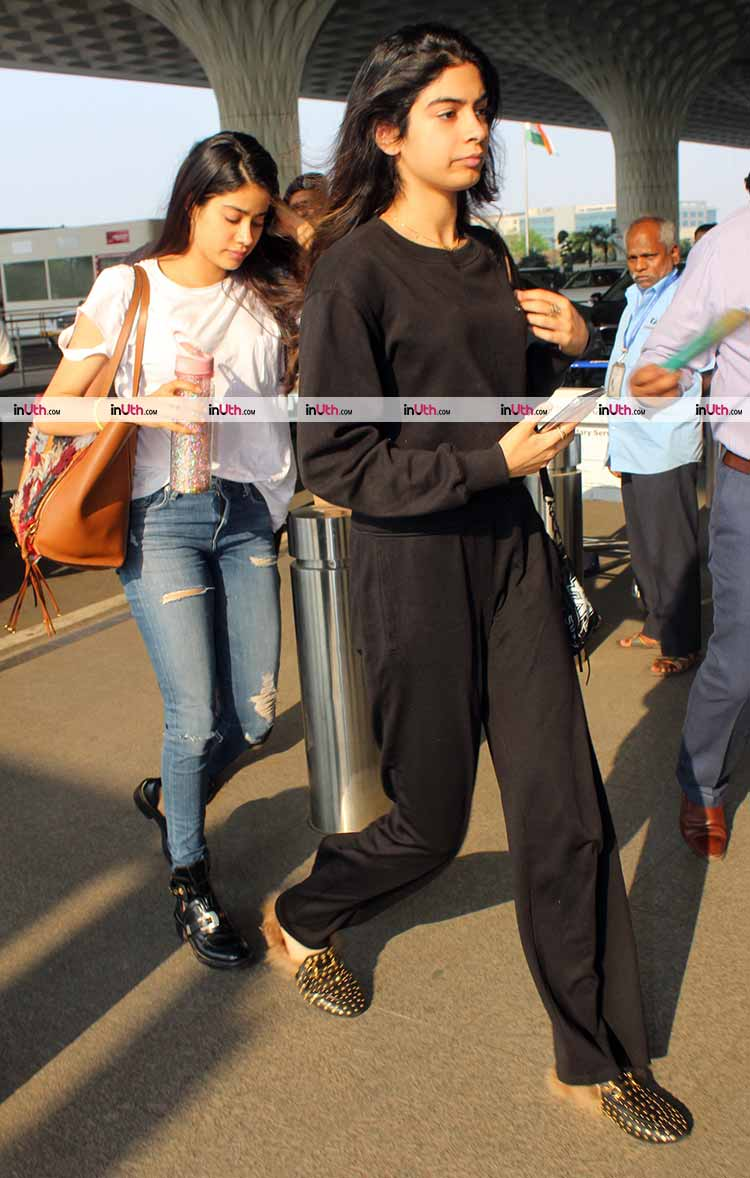 Janhvi and Khushi Kapoor leaving for Sridevi's prayer meet in Chennai