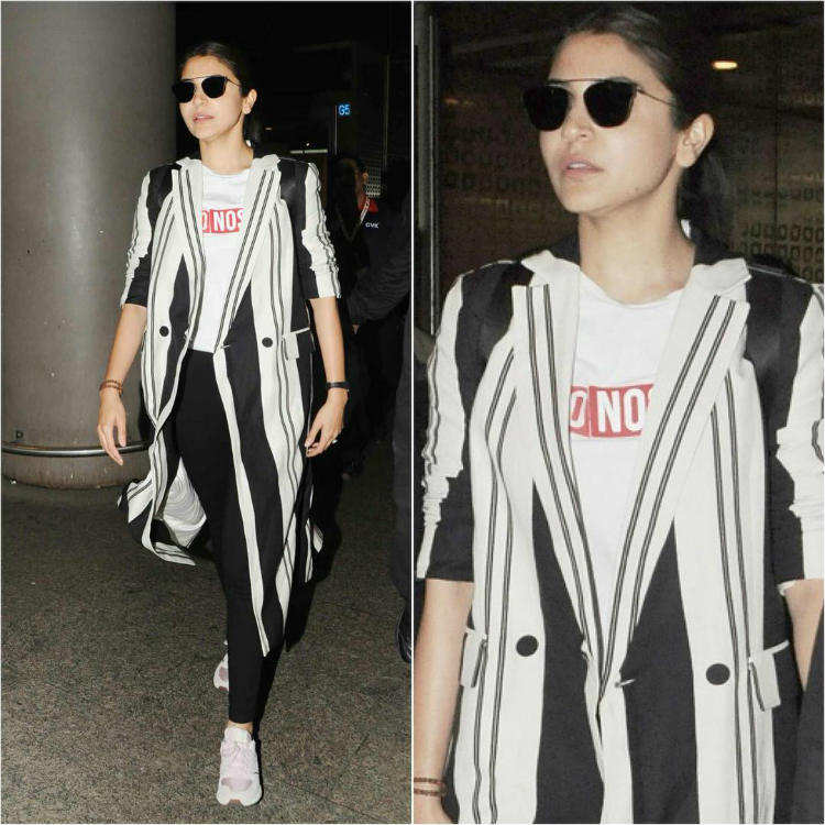 Anushka Sharma in monochrome stripes