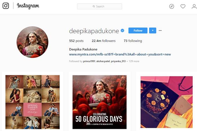Deepika Padukone's Instagram Account Screen Grab