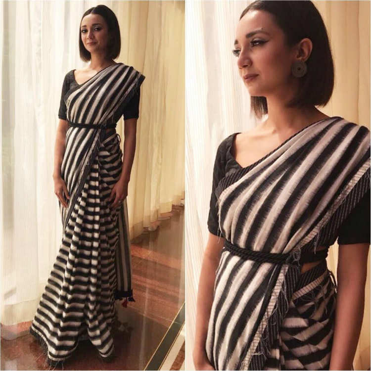 Ira Dubey in monochrome stripes