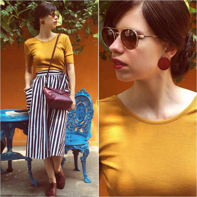 Kalki Koechlin in monochrome stripes
