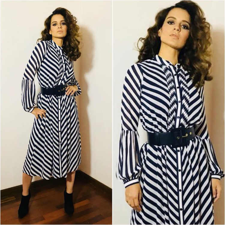 Kangana Ranaut in monochrome stripes
