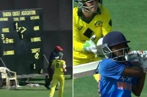Pooja Vastrakar, Pooja Vastrakar huge six, Pooja Vastrakar huge sixes, Pooja Vastrakar batting, Scoreboard broken, Indian Women vs Australia Women, India W vs Australia W, Jess Jonassen laughing