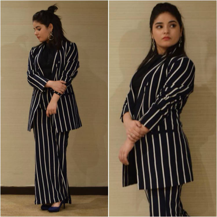 Zaira Wasim in monochrome stripes