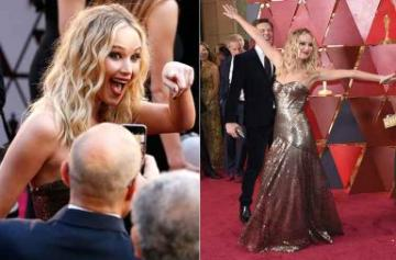 6 Photos of Jennifer Lawrence just being herself at the Oscars 2018