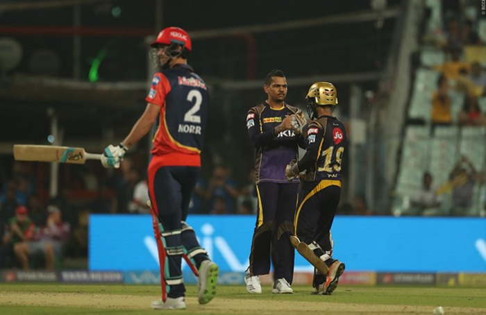 Ipl  Kkr V Dd Match  Sunil Narine Becomes St Overseas Spinner To Take  Wickets Watch