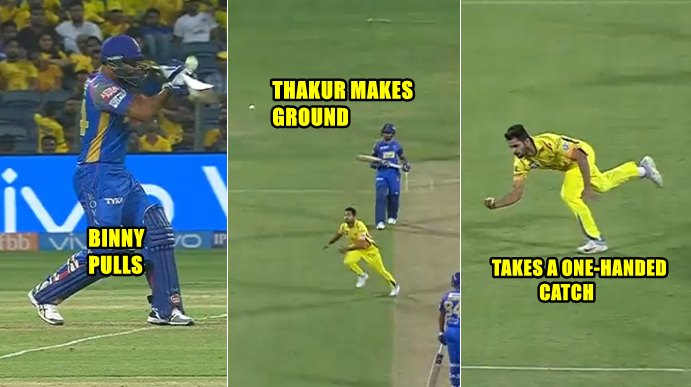 IPL 2018, CSK v RR: Shardul Thakur Takes A Near Impossible Catch With One-Hand –WATCH