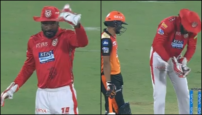 IPL 2018, SRH vs KXIP: Chris Gayle Turns Wicketkeeper As KL Rahul Goes On A Short Break — Watch