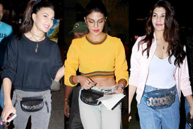 Jacqueline Fernandez carrying a fanny pack