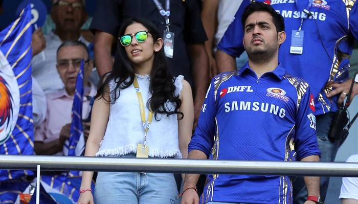 Akash Ambani With Shloka Mehta At The Wankhede Stadium/ Photo: BCCI