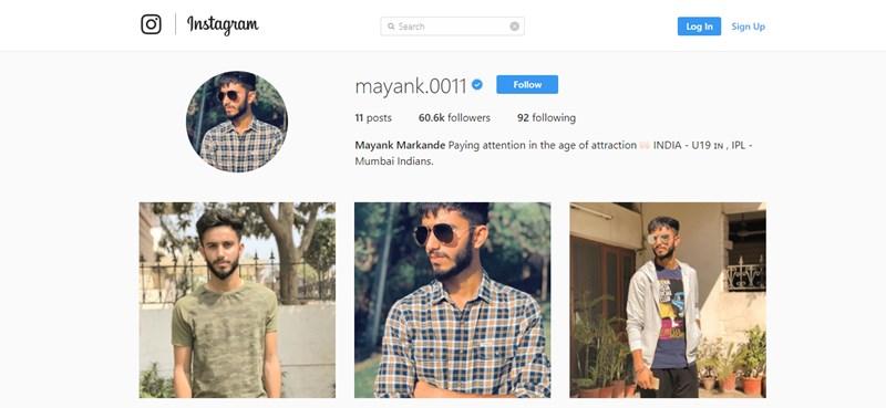 IPL 2018: Mayank Markande's Instagram Profile