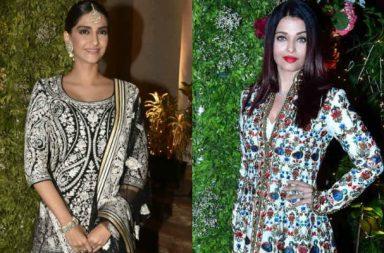 Sonam Kapoor, Aishwarya Rai Bachchan at a wedding reception