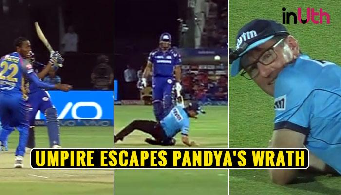 IPL 2018, RR vs MI: After Ishan Kishan, Hardik Pandya Almost Injures Umpire With A Rocket Shot —Watch
