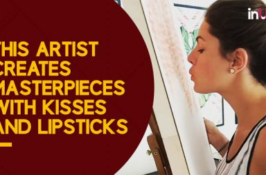 Artwork with kisses and lipsticks