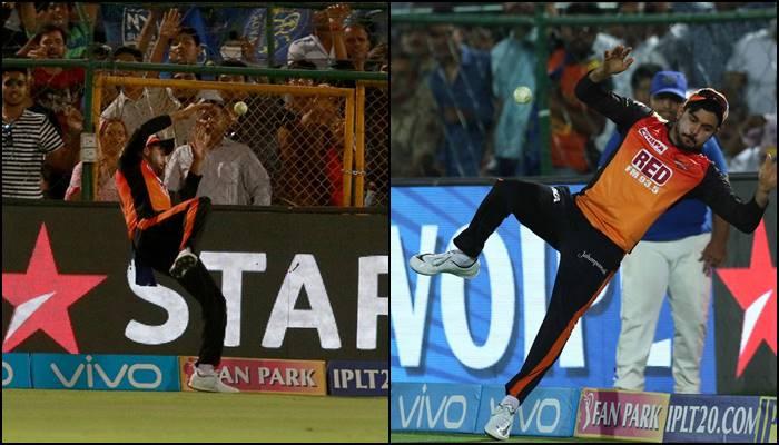 Manish Pandey saving A Six during the IPL match no 28/ Photo: BCCI