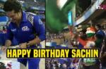 IPL 2018, MI vs SRH: Sachin Cuts Cake At Wankhede, Crowd Sing Birthday Song In Unison - Watch