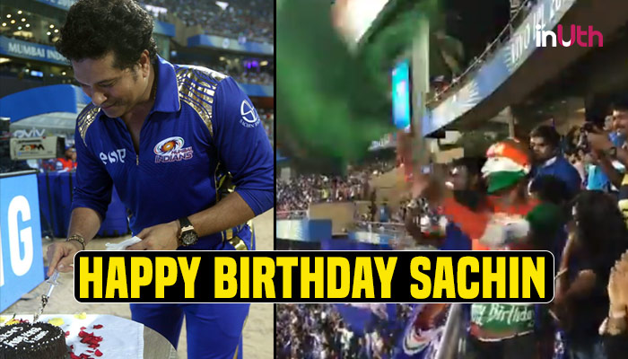 IPL 2018, MI vs SRH: Sachin Cuts Cake At Wankhede, Crowd Sing Birthday Song In Unison —Watch