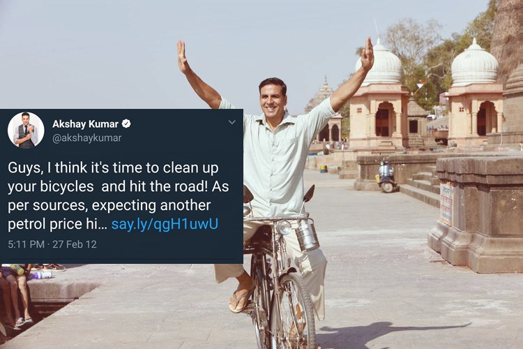 Akshay Kumar Quietly Deletes Old Tweet On Rising Petrol Prices, Twitter Shows HimReceipts