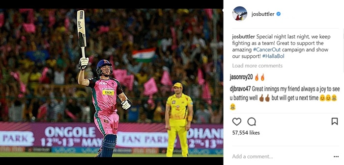 DJ Bravo comments on Jos Buttler's Instagram post