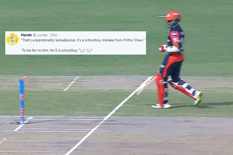 IPL 2018: Prithvi Shaw's Brain-fade Moment Leads To Run-out, Makes Twitterati Angry — Watch