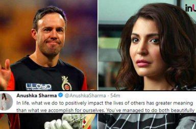 Anushka Sharma Posts Emotional Tweet On AB de Villiers Retirement