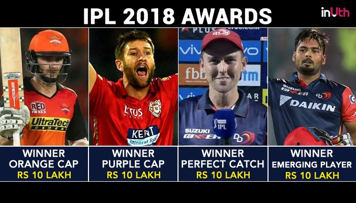 IPL 2018 Awards: Rishabh Pant Gets Rs 20 Lakh, MS Dhoni Gets Rs 10 Lakh As Prize Money. Here's The Full List