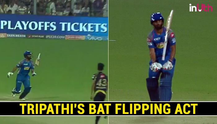 IPL 2018: Rahul Tripathi Plays An Awkward Shot, Flipping The Bat Out Of His Hand — Watch