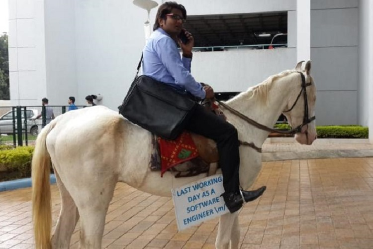 This Bengaluru Techie Just Took A Horse To Office On His Farewell