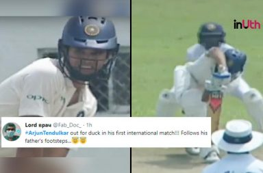 Arjun Tendulkar duck, Arjun Tendulkar Zero, Arjun Tendulkar debut Under-19 innings, Arjun Tendulkar Under-19 vs Sri Lanka, India Under-19 vs Sri Lanka Under-19, Arjun Tendulkar debut Under-19 innings
