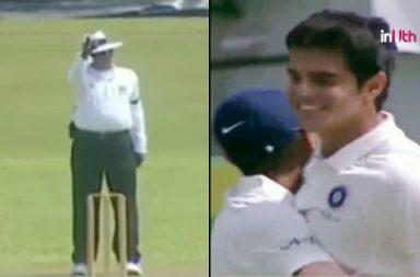 Arjun Tendulkar, Arjun Tendulkar Under-19 debut, Arjun Tendulkar Under-19 wicket, RVPK Mishra, Arjun Tendulkar first wicket, Arjun Tendulkar Under 19 vs Sri Lanka, India U-19 vs Sri Lanka U-19, India U-19 tour of Sri Lanka, RVKP Mishra lbw Arjun Tendulkar