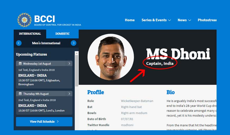 Back To The Future? MS Dhoni Is Still 'Captain' Of Team India According To BCCI Website