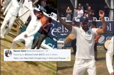 Virat Kohli dancing, Shikhar Dhawan dancing, Virat Kohli bhangra, Shikhar Dhawan bhangra, Virat Kohli dancing on the field, Essex vs India 2018, India vs Essex warm-up game, India vs England 2018, India's tour of England 2018