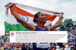 AFI Faces Backlash For 'Mocking' Gold Medalist Hima's English, Issues Apology