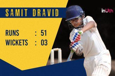 Samit Dravid, Rahul Dravid, Samit Dravid batting, Rahul Dravid's son batting, Samit Dravid photos, Samit Dravid century, Samit Dravid best bowling, Samit Dravid half-century